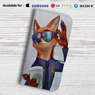 Zootopia Starbucks Coffee Custom Leather Wallet iPhone 4/4S 5S/C 6/6S Plus 7| Samsung Galaxy S4 S5 S6 S7 Note 3 4 5| LG G2 G3 G4| Motorola Moto X X2 Nexus 6| Sony Z3 Z4 Mini| HTC ONE X M7 M8 M9 Case