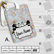 Mickey Mouse and Minnie Mouse Pattern Custom Leather Luggage Tag