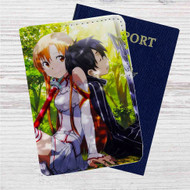 Asuna and Kirito Sword Art Online Custom Leather Passport Wallet Case Cover