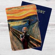 Deadpool Scream Custom Leather Passport Wallet Case Cover