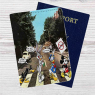 Disney Abbey Road Custom Leather Passport Wallet Case Cover