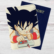 Goku Playing Game Dragon Ball Custom Leather Passport Wallet Case Cover