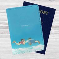 Haku and Chihiro Spirited Away Studio Ghibli Custom Leather Passport Wallet Case Cover