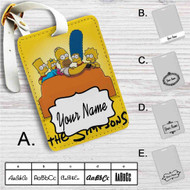 The Simpsons Watching TV Custom Leather Luggage Tag