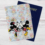 Mickey Mouse and Minnie Mouse Pattern Custom Leather Passport Wallet Case Cover