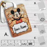 Vitruvian Mickey Mouse Custom Leather Luggage Tag