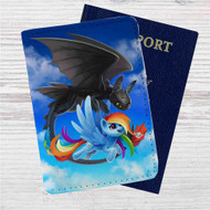 Rainbow Dash and Toothless Custom Leather Passport Wallet Case Cover