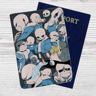 Sans Undertale Collage Custom Leather Passport Wallet Case Cover