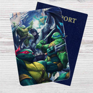 Teenage Mutant Ninja Turtles With Batman Fight Custom Leather Passport Wallet Case Cover