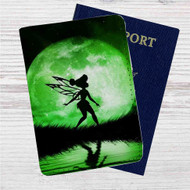 Tinkerbell Green Moon Custom Leather Passport Wallet Case Cover