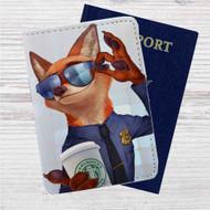 Zootopia Starbucks Coffee Custom Leather Passport Wallet Case Cover