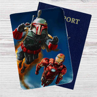 Boba Fett and Iron Man Custom Leather Passport Wallet Case Cover