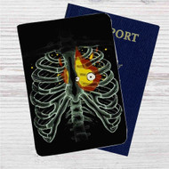 Heart On Fire Howl Moving Castle Custom Leather Passport Wallet Case Cover