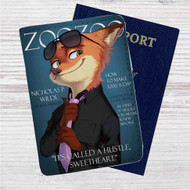 Judy and Nick Cover Models Zootopia Custom Leather Passport Wallet Case Cover