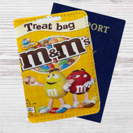 M&M'S Peanut Chocolate Custom Leather Passport Wallet Case Cover