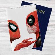 Spiderman Deadpool Custom Leather Passport Wallet Case Cover