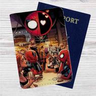 Superhero Drunk Spiderman Deadpool Custom Leather Passport Wallet Case Cover