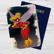 Tinkerbell as Spiderwoman Custom Leather Passport Wallet Case Cover