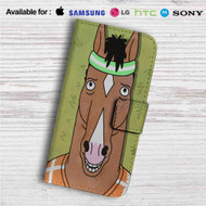 Bojack Horseman Face Custom Leather Wallet iPhone 4/4S 5S/C 6/6S Plus 7  Samsung Galaxy S4 S5 S6 S7 Note 3 4 5  LG G2 G3 G4  Motorola Moto X X2 Nexus 6  Sony Z3 Z4 Mini  HTC ONE X M7 M8 M9 Case