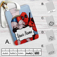 Deadpool and Sexy Harley Quinn Custom Leather Luggage Tag