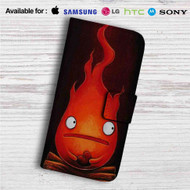 Calcifer Howl's Moving Castle Custom Leather Wallet iPhone 4/4S 5S/C 6/6S Plus 7| Samsung Galaxy S4 S5 S6 S7 Note 3 4 5| LG G2 G3 G4| Motorola Moto X X2 Nexus 6| Sony Z3 Z4 Mini| HTC ONE X M7 M8 M9 Case
