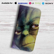 Master Yoda Face Star Wars Custom Leather Wallet iPhone 4/4S 5S/C 6/6S Plus 7| Samsung Galaxy S4 S5 S6 S7 Note 3 4 5| LG G2 G3 G4| Motorola Moto X X2 Nexus 6| Sony Z3 Z4 Mini| HTC ONE X M7 M8 M9 Case