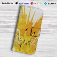Pikachu Pokemon Angry Custom Leather Wallet iPhone 4/4S 5S/C 6/6S Plus 7  Samsung Galaxy S4 S5 S6 S7 Note 3 4 5  LG G2 G3 G4  Motorola Moto X X2 Nexus 6  Sony Z3 Z4 Mini  HTC ONE X M7 M8 M9 Case