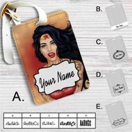Punk Wonder Woman Custom Leather Luggage Tag
