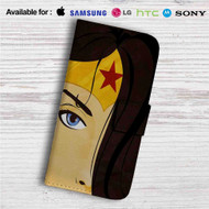 Wonder Woman Face Custom Leather Wallet iPhone 4/4S 5S/C 6/6S Plus 7| Samsung Galaxy S4 S5 S6 S7 Note 3 4 5| LG G2 G3 G4| Motorola Moto X X2 Nexus 6| Sony Z3 Z4 Mini| HTC ONE X M7 M8 M9 Case