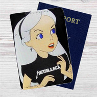 Alice in Wonderland With Metallica Custom Leather Passport Wallet Case Cover