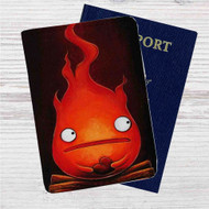 Calcifer Howl's Moving Castle Custom Leather Passport Wallet Case Cover