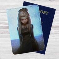 Dark Elsa Frozen Disney Custom Leather Passport Wallet Case Cover