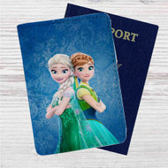Elsa and Anna Frozen Forever Custom Leather Passport Wallet Case Cover