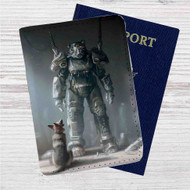 Fallout 4 Dogmeat & Power Armor Custom Leather Passport Wallet Case Cover