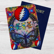 Grateful Dead Custom Leather Passport Wallet Case Cover