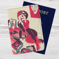 Harley Quinn Play Music Custom Leather Passport Wallet Case Cover