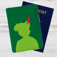 Silhouette of Peter Pan Disney Custom Leather Passport Wallet Case Cover