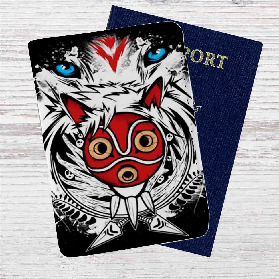 The Mask Princess Mononoke Custom Leather Passport Wallet Case Cover