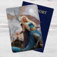 Daenerys Targaryen Game of Thrones Custom Leather Passport Wallet Case Cover