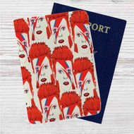 David Bowie Collage Custom Leather Passport Wallet Case Cover