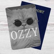 Kitty Ozzy Osbourne Custom Leather Passport Wallet Case Cover