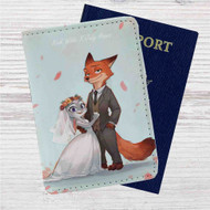 Nick and Judy Maried Zootopia Custom Leather Passport Wallet Case Cover