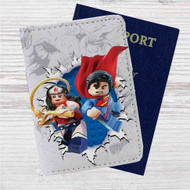 Wonder Woman and Superman lego Custom Leather Passport Wallet Case Cover