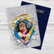 Wonder Woman Lego Custom Leather Passport Wallet Case Cover