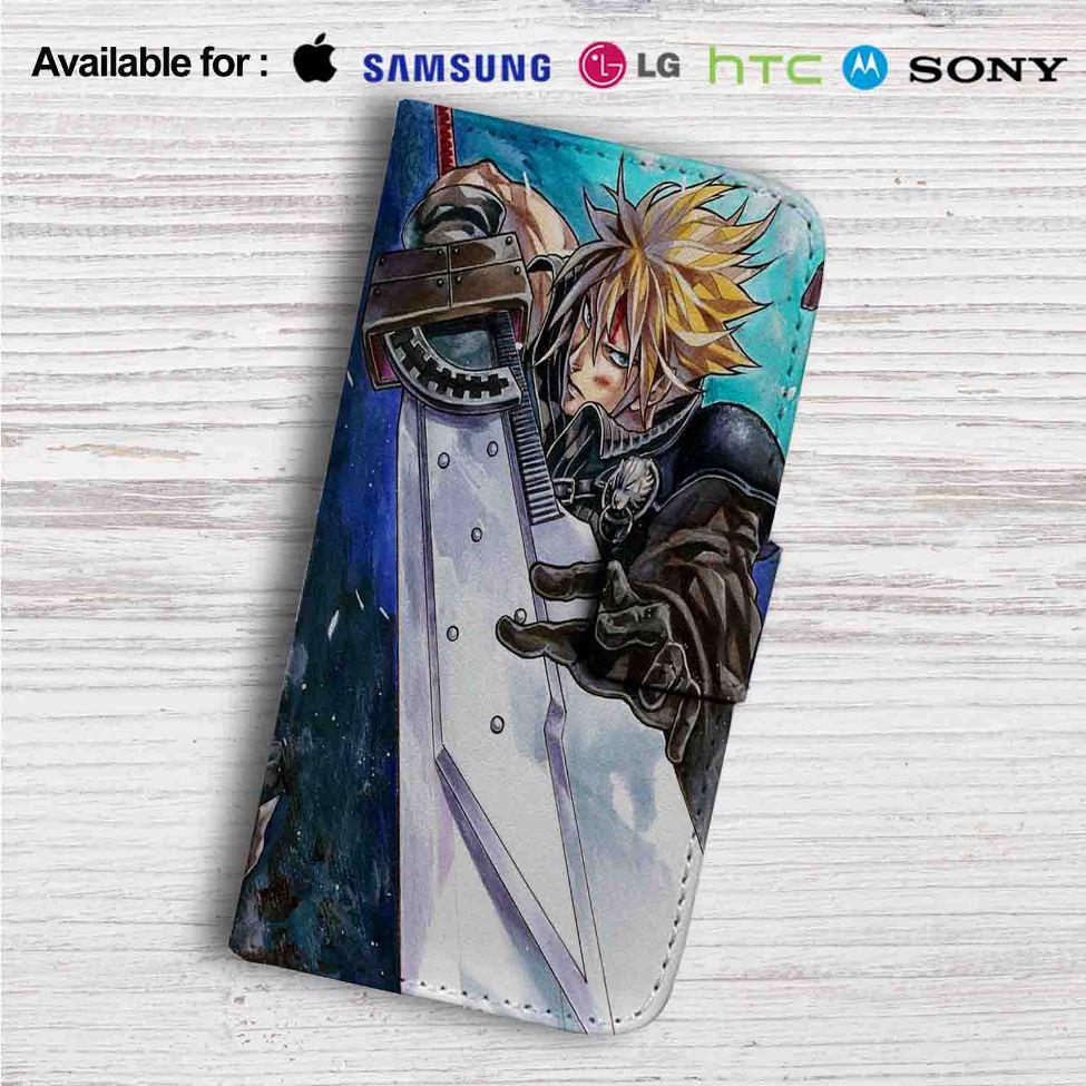 Cloud Strife Final Fantasy 7 Custom Leather Wallet iPhone 4/4S 5S/C 6/6S  Plus 7| Samsung Galaxy S4 S5 S6 S7 Note 3 4 5| LG G2 G3 G4| Motorola Moto X