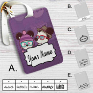 Hipster Mickey Mouse and Minnie Mouse Custom Leather Luggage Tag