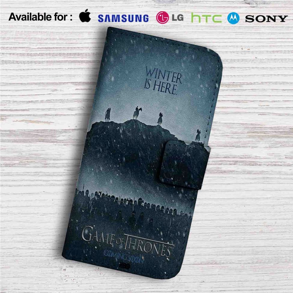 Winter is Here Game of Thrones Season 7 Custom Leather Wallet iPhone 4/4S  5S/C 6/6S Plus 7  Samsung Galaxy S4 S5 S6 S7 Note 3 4 5  LG G2 G3 G4 