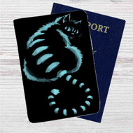 Cat Cheshire in Shadow Custom Leather Passport Wallet Case Cover