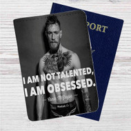Conor Mcgregor I am Not Talented Custom Leather Passport Wallet Case Cover