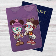 Hipster Mickey Mouse and Minnie Mouse Custom Leather Passport Wallet Case Cover